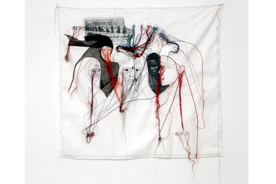 ATOMIC BOMB / newspaper sewing fabric on textile / 93x87 cm / 2005