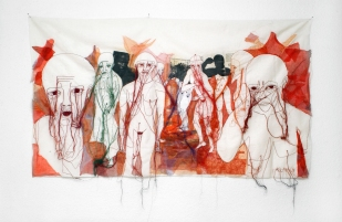ETHNIC CLEANSING / newspaper sewing fabric on textile / 153x90 cm / 2005