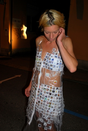 EXTIMITY. THE FAMILIAR UNKNOW / Performance / Facebook profiles sewed on transparent dress / ca. 2m x 1m / 2010