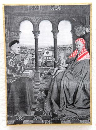 PALESTINIAN MADONNA (J. van Eyck) / drawing on photocopy, glued on wood / 2010