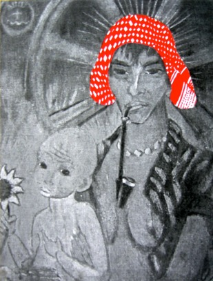 PALESTINIAN MADONNA (O. Mueller) / drawing on photocopy, glued on wood / 2010