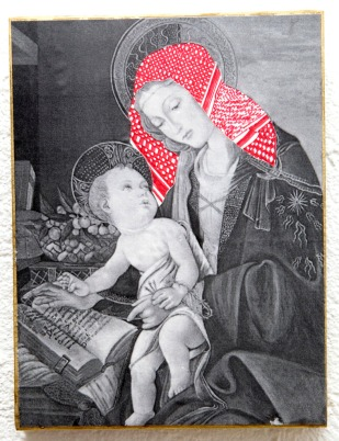 PALESTINIAN MADONNA (S. Botticelli) / drawing on photocopy, glued on wood / 2010