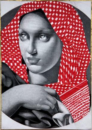 PALESTINIAN MADONNA (T. de Lempicka) / drawing on photocopy, glued on wood / 2010