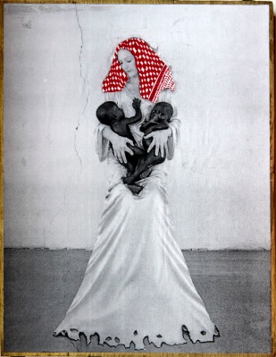 PALESTINIAN MADONNA (V. Beecroft) / drawing on photocopy, glued on wood / 2010