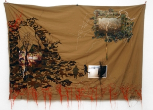 Series A DOPPIO FILO / MILITARY / printed photography fabric sewing on cloth / 210x145 cm / 2007