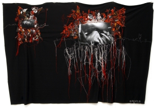 Series A DOPPIO FILO / ROCK / printed photography sewing on cloth / 210x150 cm / 2007