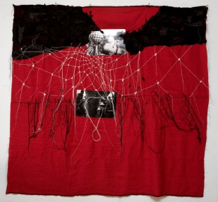 Series PALESTINE / BIL'IN / printed photography sewing on cloth / 193x180 cm / 2008 / Art Collection Canton Ticino