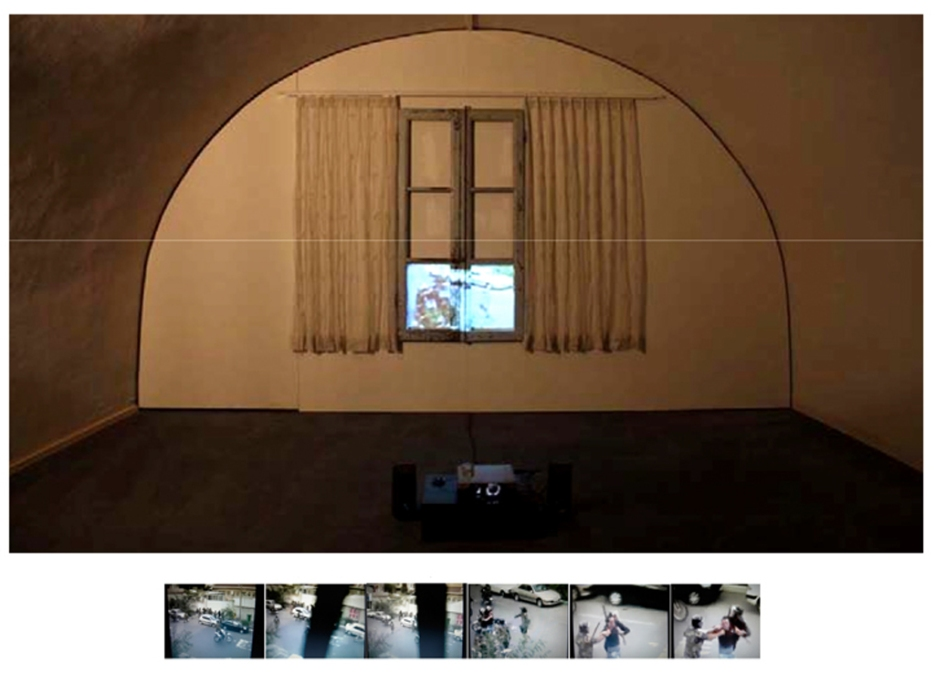 WINDOW ON TEHERAN / Video projected on a wood window, embroidered curtains with beads / 3x2m / 2009