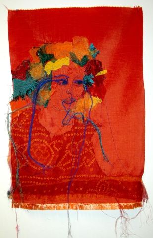 WHERE ARE OUR HEROES (Arundhaty Roy II) / embroidery on fabric /28x44 cm / 2012