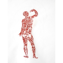 Aglaia Haritz VEINS#1 sewed drawing with red thread on white fabric 50x50 cm 2013