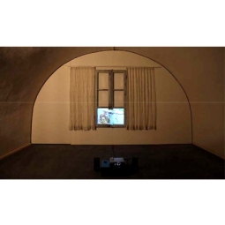 Aglaia Haritz WINDOW ON TEHERAN Video projected on a wood window- embroidered curtains with beads 2009